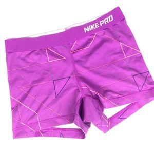 Nike Pro Purple Geometric Compression Shorts M
